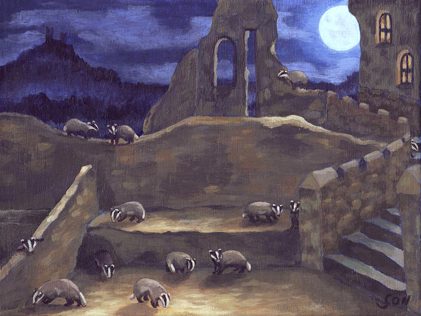 badger illustration painting